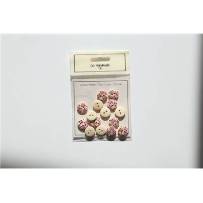 LOT 15 BOUTONS BOIS ROSE - DAISY DESIGN - 15 MM
