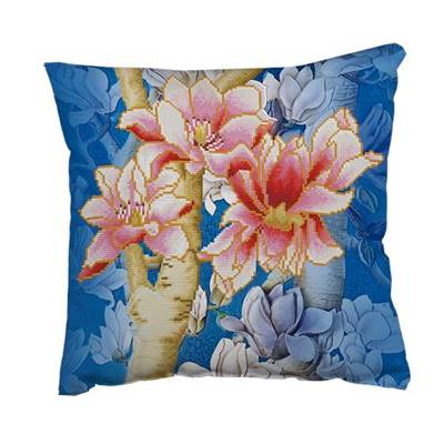 KIT BRODERIE DIAMANT - COUSSIN DECORATIF MAGNOLIA 1