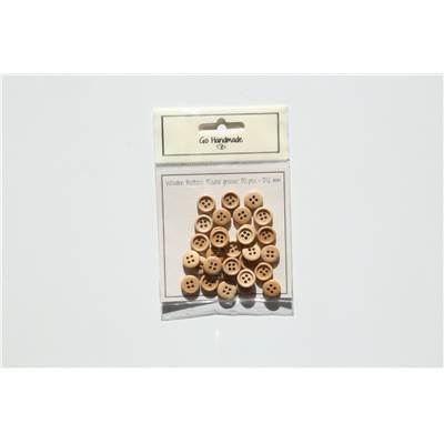 LOT 30 BOUTONS BOIS NATUREL - ROUND GROOVE - 12 MM