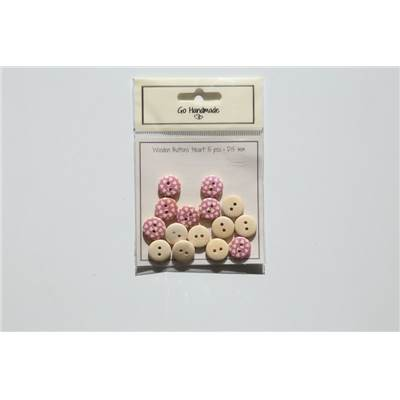 LOT 15 BOUTONS BOIS ROSE - HEART DESIGN - 15 MM