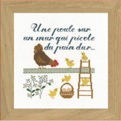 DIAGRAMME POINT DE CROIX ABC COLLECTION - UNE POULE SUR UN MUR COUL.