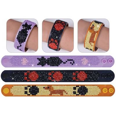 KIT BRODERIE DIAMANT - LOT 3 BRACELETS CHIENS ET CHATS