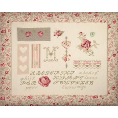DIAGRAMME POINT DE CROIX ABC COLLECTION - ROSES ET COEURS EN PATCH