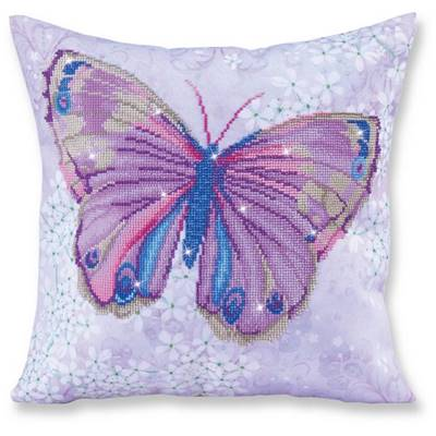 KIT BRODERIE DIAMANT - COUSSIN DECORATIF PAPILLON MAUVE