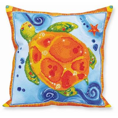KIT BRODERIE DIAMANT - COUSSIN DECORATIF LA TORTUE
