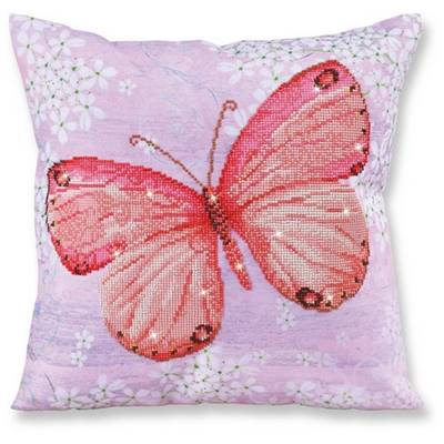 KIT BRODERIE DIAMANT - COUSSIN DECORATIF PAPILLON ABRICOT