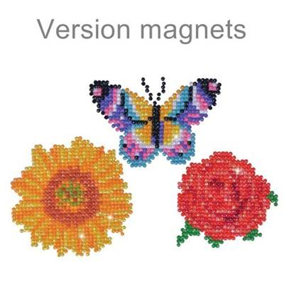 KIT BRODERIE DIAMANT - LOT 3 MAGNETS FLEURS ET PAPILLON